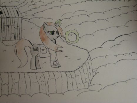 The Fall of Littlepip (literally) - Colour preview by Glowing-Whooves