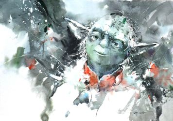 Yoda - Watercolor by Abstractmusiq