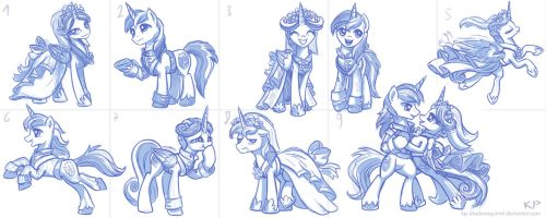 Cadance and Shining Armor Sketches by KP-ShadowSquirrel