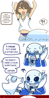 Borrowing Sans' shirt by Meiasaurus-rex
