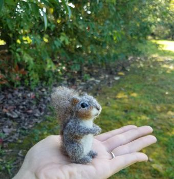 Needle felted Squirrel miniature soft sculpture by amber-rose-creations