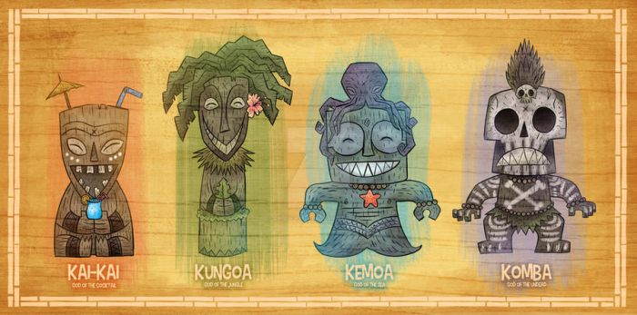 The Island of Spooki-ki Tiki Gods by chrisraimoart