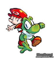 Yoshi and Baby Mario by SootToon