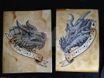 Paarthurnax and Alduin by Unmei-Wo-Hayamete