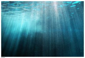 Underwater Light and Bubbles by Della-Stock