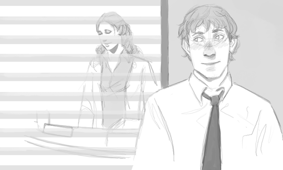 Jim and Pam doodle by demonkitty0
