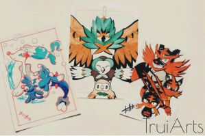 Rowlet, Popplio and Litten Evolutions by TruiArts