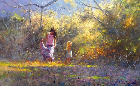'Taking Care' by Robert Hagan Oil on Canvas by robert-hagan