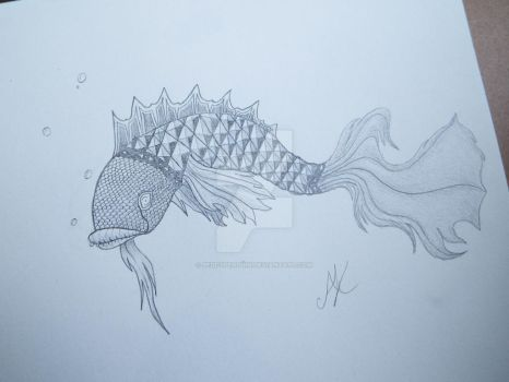 Dragon Fish (Warm-up drawing) by PeddyPenguin