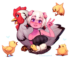 Emelie and chickens by CyanCapsule