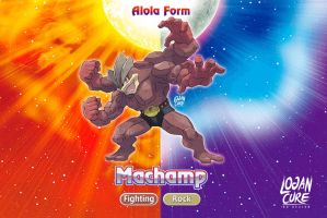 Alolan Machamp Fighting  Rock ken sugimori by logancure