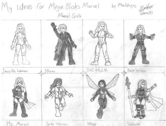 My ideas for Mega Bloks - Marvel Girls (sketch) by TheMVAproductions
