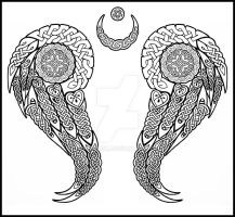 celtic wings tattoo by one-rook