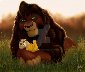 Kovu and cubs - The Lion King by nubilum93