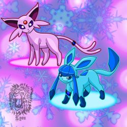 Seth, my Espeon and Shawn, my Glaceon by TheBig-ChillQueen