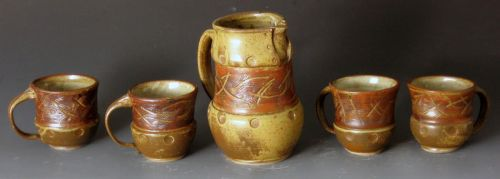 Green and Red Sgraffito Set by sbielaczyc
