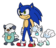 SAI: Sonic, Oshawott and Vulpix by cmara