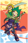 Ninja Chick and Pirate Gal by TheSteveYurko