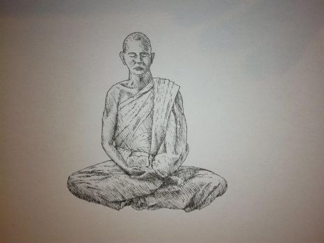 Inktober 2017, Day 24: meditating monk by GLangGould