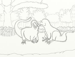 Yutyrannus Pair - Lineart by dracontes