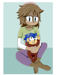 Mobian Lilly and Baby Sonic by HedgeCatDragonix