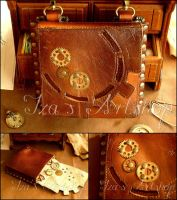 Small Steampunk Leather Belt Bag by izasartshop