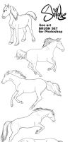 Shilohs Horse Lineart Brushes by shilohs