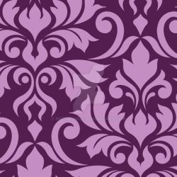 Flourish Damask Art I Pink on Plum by NatPaskell