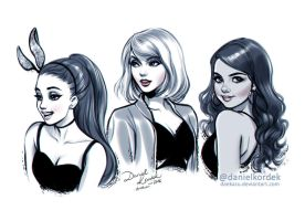 Inktober: Ariana, Taylor and Selena by daekazu