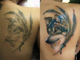 wolf and feathers by NikaSamarina