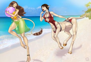 Beach Girls - Anne and Beth Commisson by Lilly Moo by somethingelse77