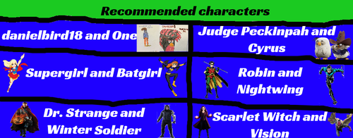 Recommended Characters (Read Description) by AngryBirdsatSFOT