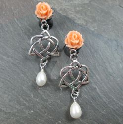 Rose and Pearl Celtic Heart Knot Dangle Plugs by BittersweetLuna