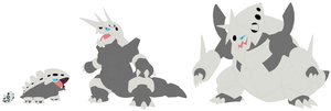 Aron, Lairon, Aggron and Mega Aggron Base by SelenaEde