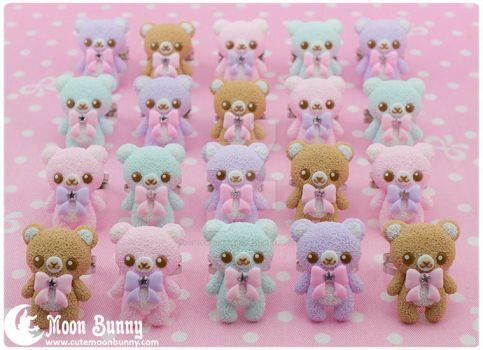 Pastel ice cream bears Rings by CuteMoonbunny