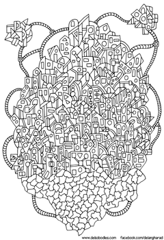 Floating City Colouring Page by WelshPixie