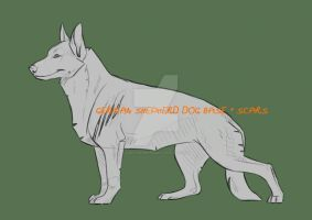 German Shepherd base + scars - .PSD by NorthernRed