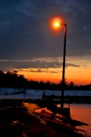 Lamp Snow And Sunset by LDFranklin