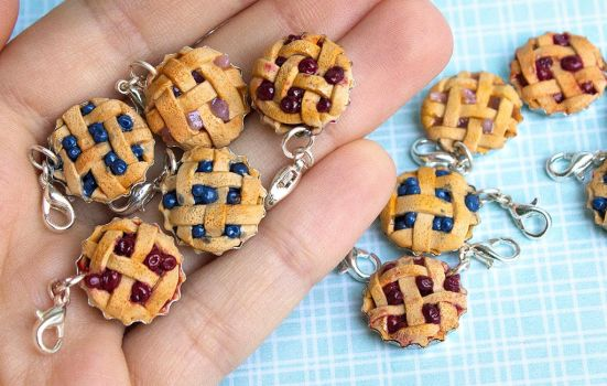 Miniature polymer clay pie charms by SculptedPups