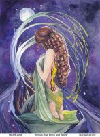 Willow, the Night and Moon by mcah