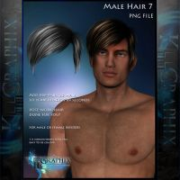 Male Hair 7 Painted Instant hair PNG add on stock by MakeMeMagical