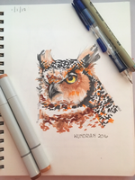Daily Sketch #3 - Great Horned Owl by Wundrian