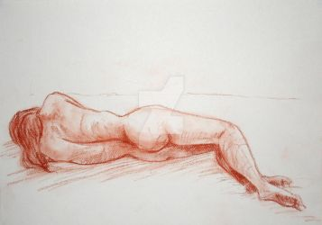 Sepia Woman Lying Down III by WingSketcher