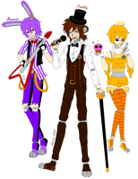 (FNaF) Bonnie ,Freddy and Chica in human form by xXElectric-RibelXx