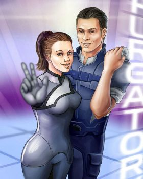 Shepard and her biotic by SargeCrys