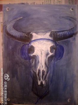 mounted bull skull and headphones by psychyginger