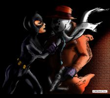 Catwoman and Rorschach by Someone072