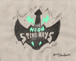 Neon Sting Ray Lino Cut on Canvas by Stnk13