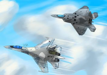 Su-35 and F-22 by Vizelius