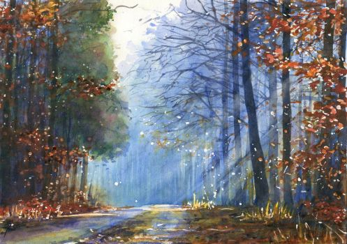 Forest in blue by JoaRosa